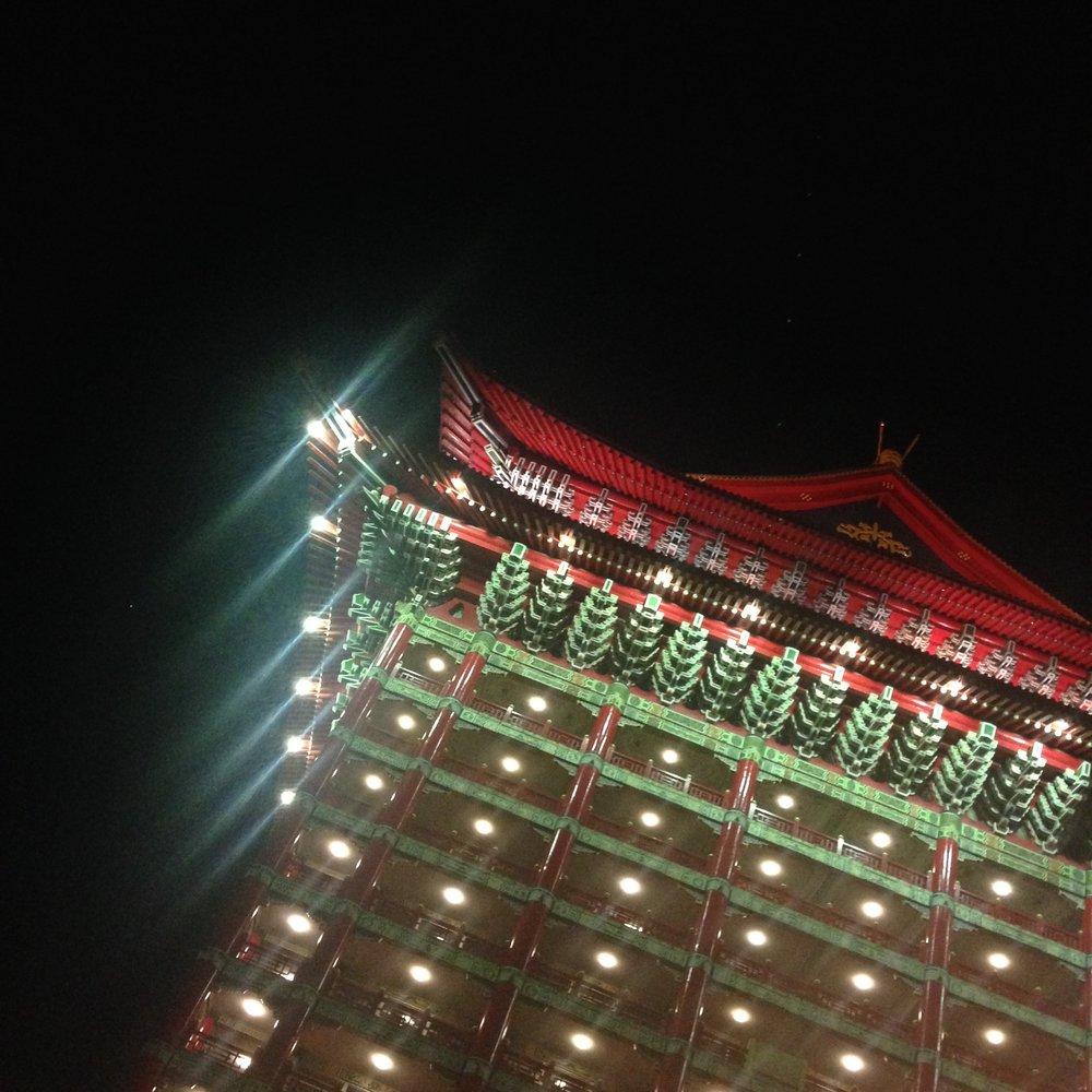 Grand Hotel Taipei at night.