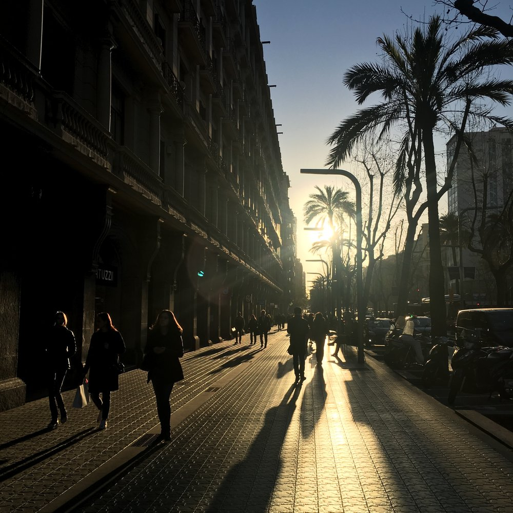 Avinguda Diagonal sunset.  European streets have this grandeur that streets in North America don't seem to have.  Those tiles with that sunset lighting is so beautiful.
