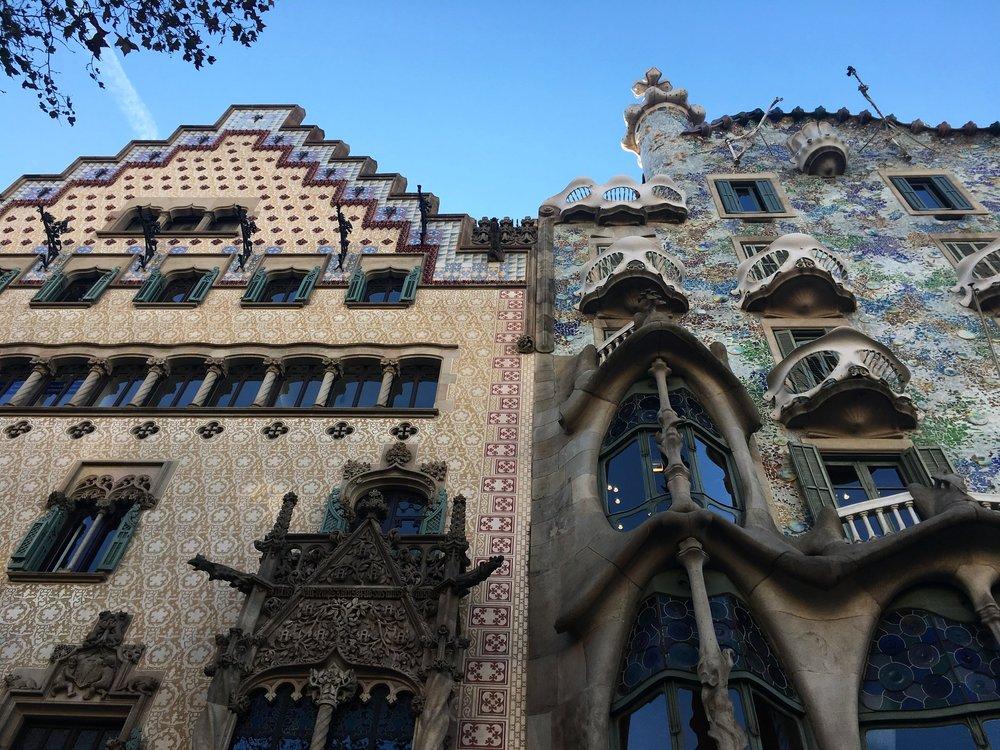 Casa Batlló and Casa Ametller located in Barcelona's Passeig de Gràcia.