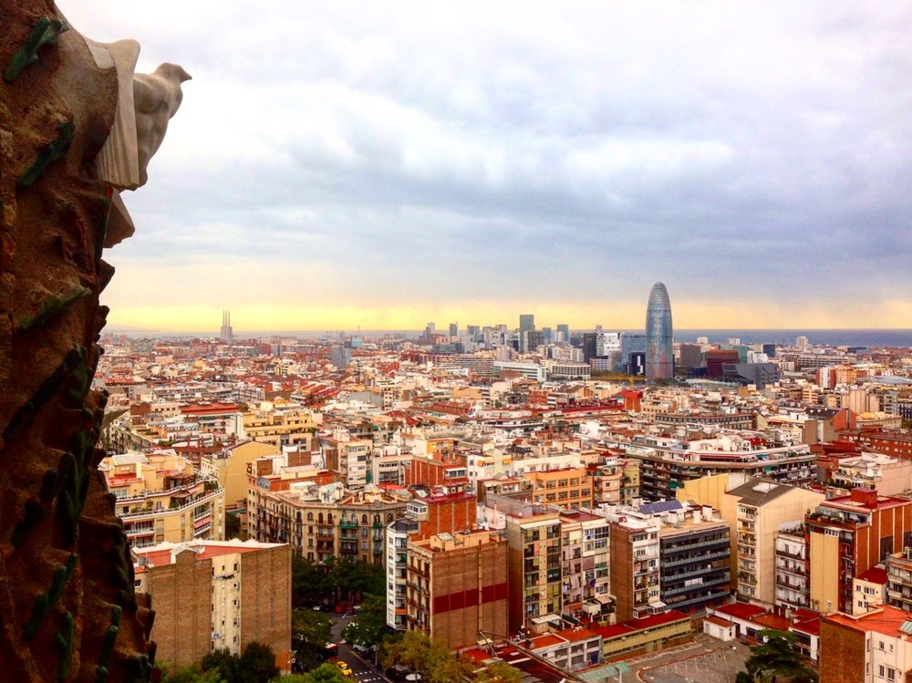 View from the top of one of La Sagrada Família's towers.