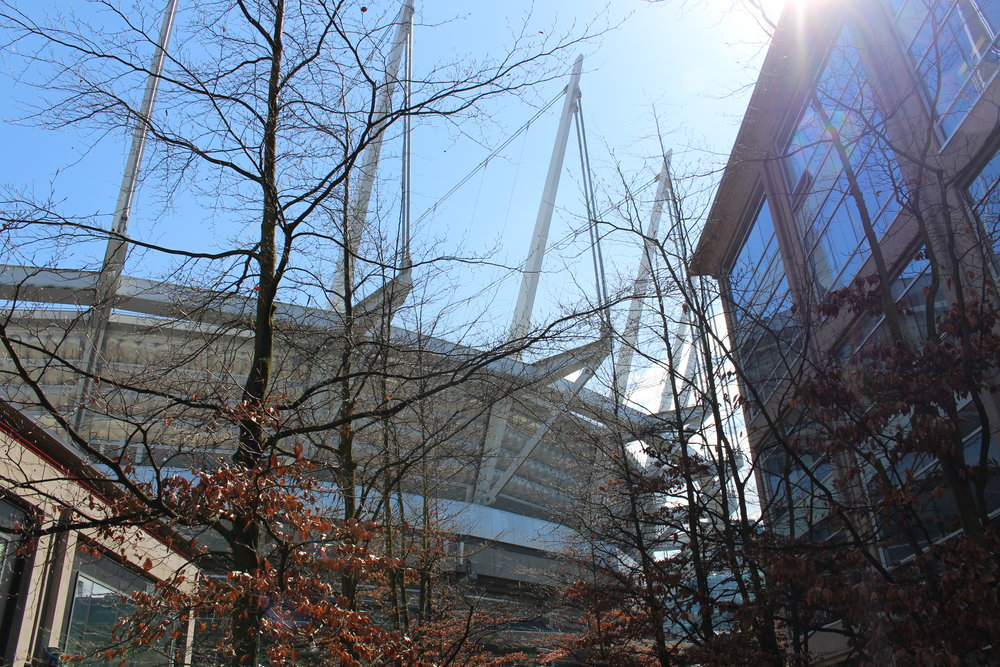 BC Place Stadium seen from one of the adjacent streets. Construction for the retractable roof began in May 2010 shortly after the close of the 2010 Winter Paralympics.  The structure was a bit controversial but we actually think it adds a lot more character to the stadium.
