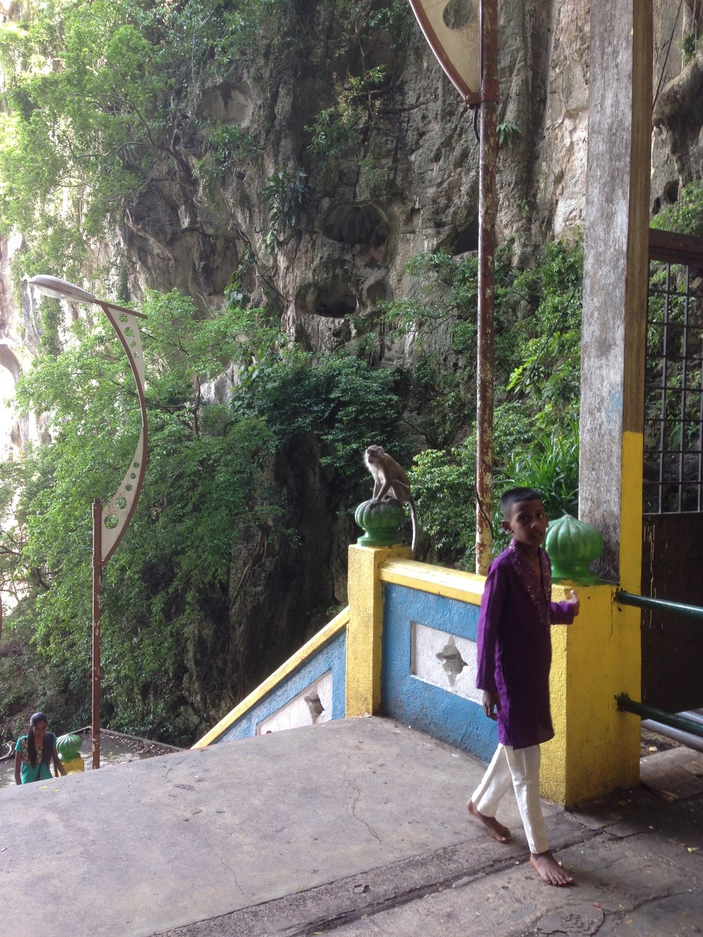 A boy and a monkey around Batu Caves.
