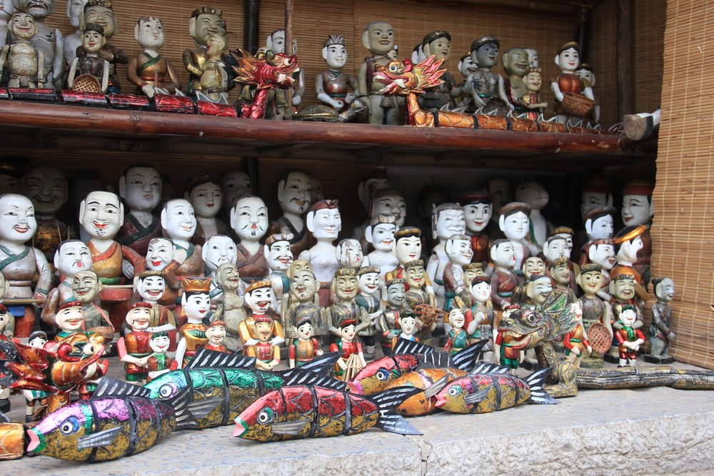 Vietnamese water puppets. These skits are performed in a pool of water and make references to traditional folklore.