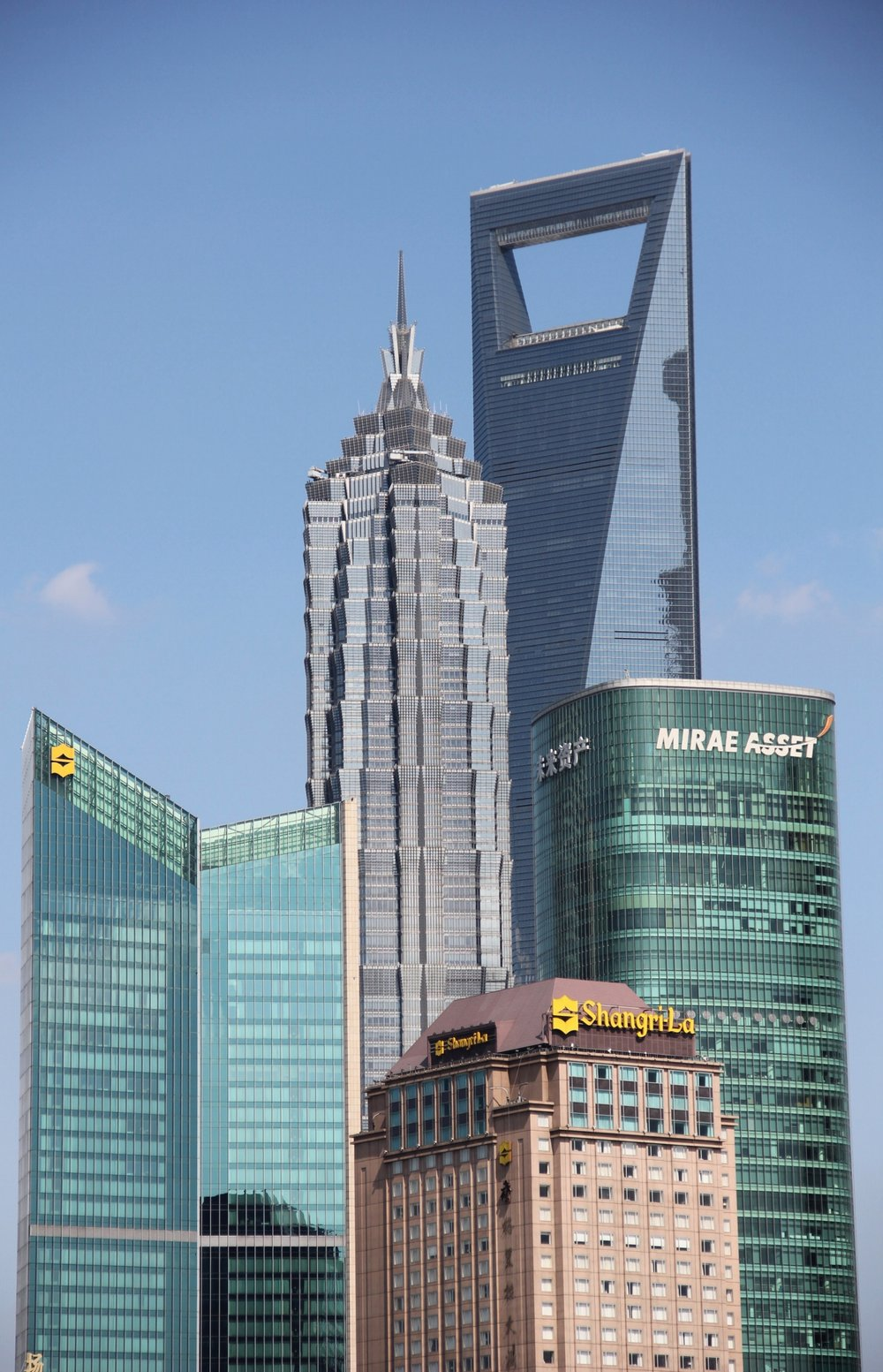 Here you're looking at Jin Mao Tower in the centre with the Shanghai World Financial Centre to its right.