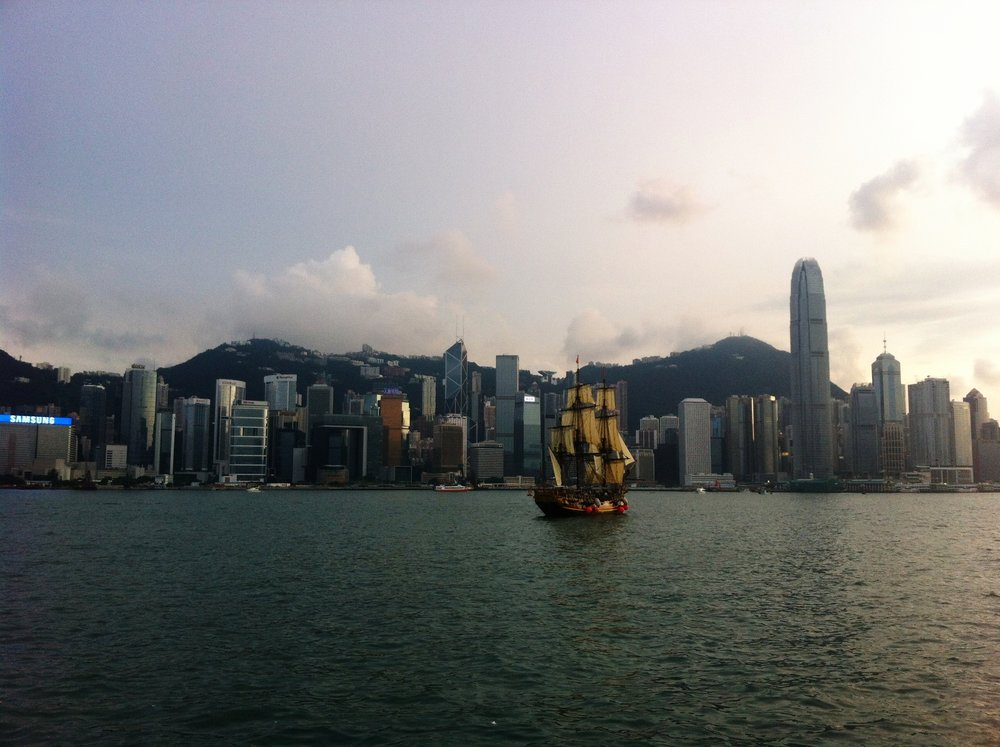 This is one of probably thousands of pictures we have of the same skyline.  You honestly never ever get sick of looking at this view.  This is a constant reminder of Hong Kong's incredible development throughout the decades to become what it is today.   Every now and then you get lucky and catch a junk floating by.