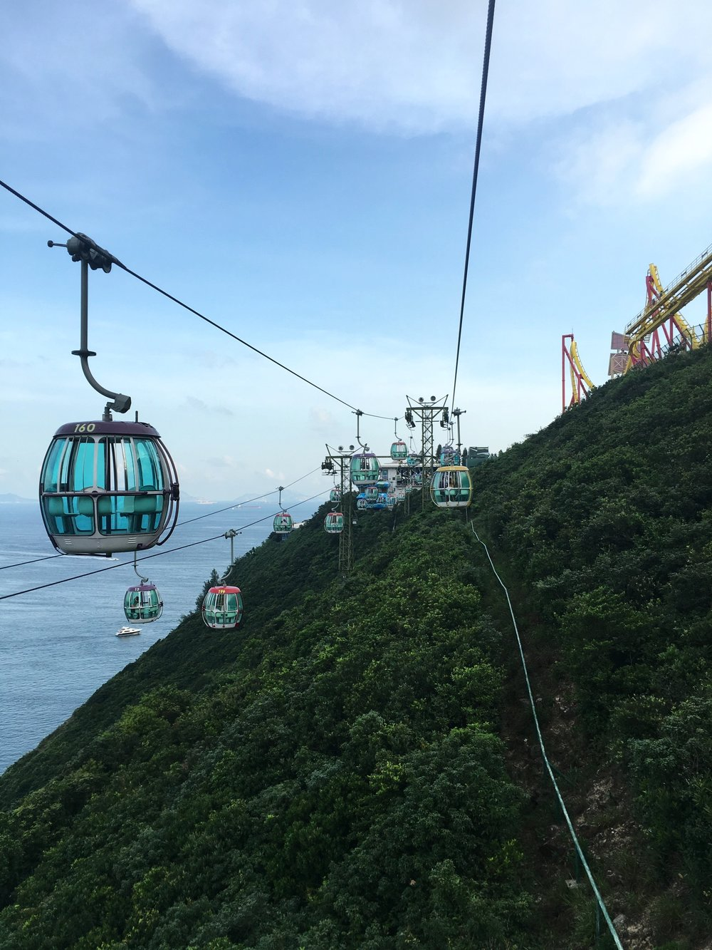 Ocean Park Cable Car is a must when you visit Hong Kong.  One time is definitely enough of an experience but it is a beautiful once in a lifetime experience.