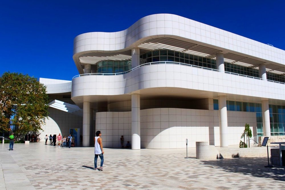 The Getty Center by architect Richard Meier sits on top of a hill and has magnificent views of the city.