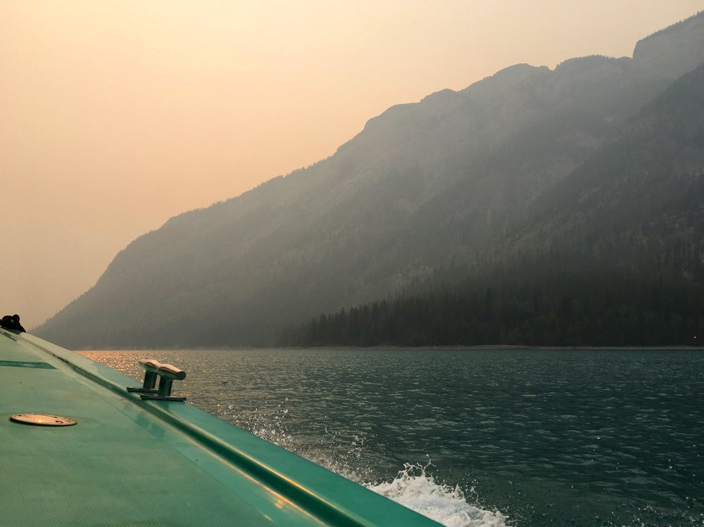 It's not a sunset. It's smoke from wildfires in British Columbia that is blocking the sun and causing this eerie effect. Please donate if you can via the Canadian Red Cross.