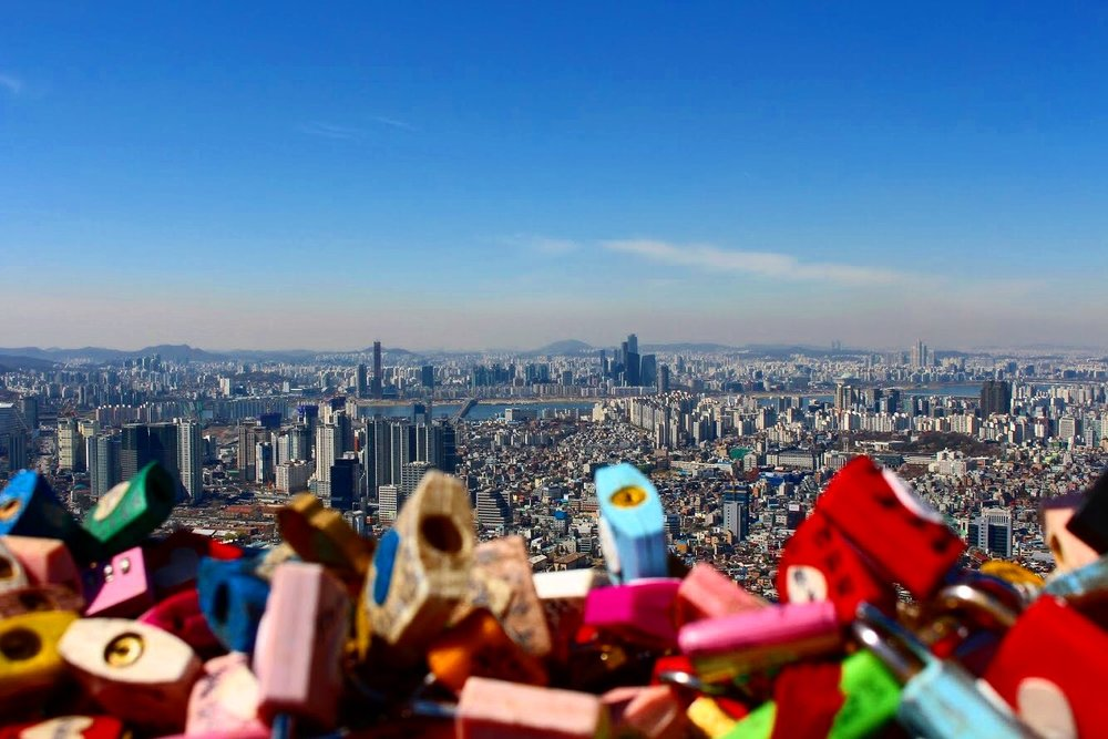 These love locks are at the N Seoul Tower. I know many cities in the world have something similar but we especially like that this location gives you an aerial view of Seoul.