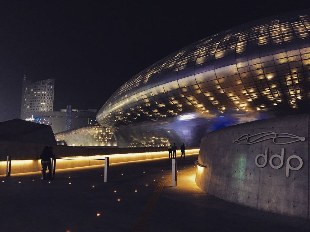 Another shot of the Dongdaemun Design Plaza. It really looks like a spaceship (as how we humans imagine they'd look like) just landed.