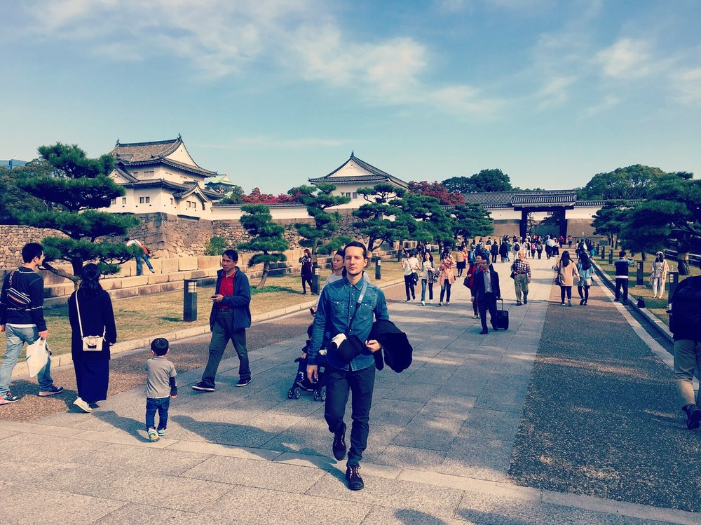 Walking around Osaka Castle. A must for all visitors.