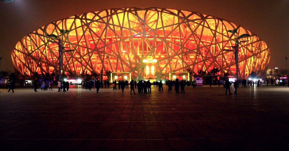 Beijing National Stadium was designed by the architecture studio Herzog & de Meuron. The stadium was designed for the 2008 Summer Olympics and Paralympics and will be used again in the 2022 for the Winter Olympics and Paralympics.