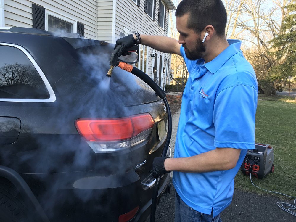 Our Process - With the use of steam and professional car care products we make sure to give your vehicle a thorough deep clean and leave a layer of protection behind. Steam effectively sanitizes surfaces therefore we can cut down on the use of harmful chemicals. The chemicals we use are safe and eco-friendly.The use of steam allows us to conserve the amount of water used in the detailing process offering a truly environmentally friendly solution to car care.
