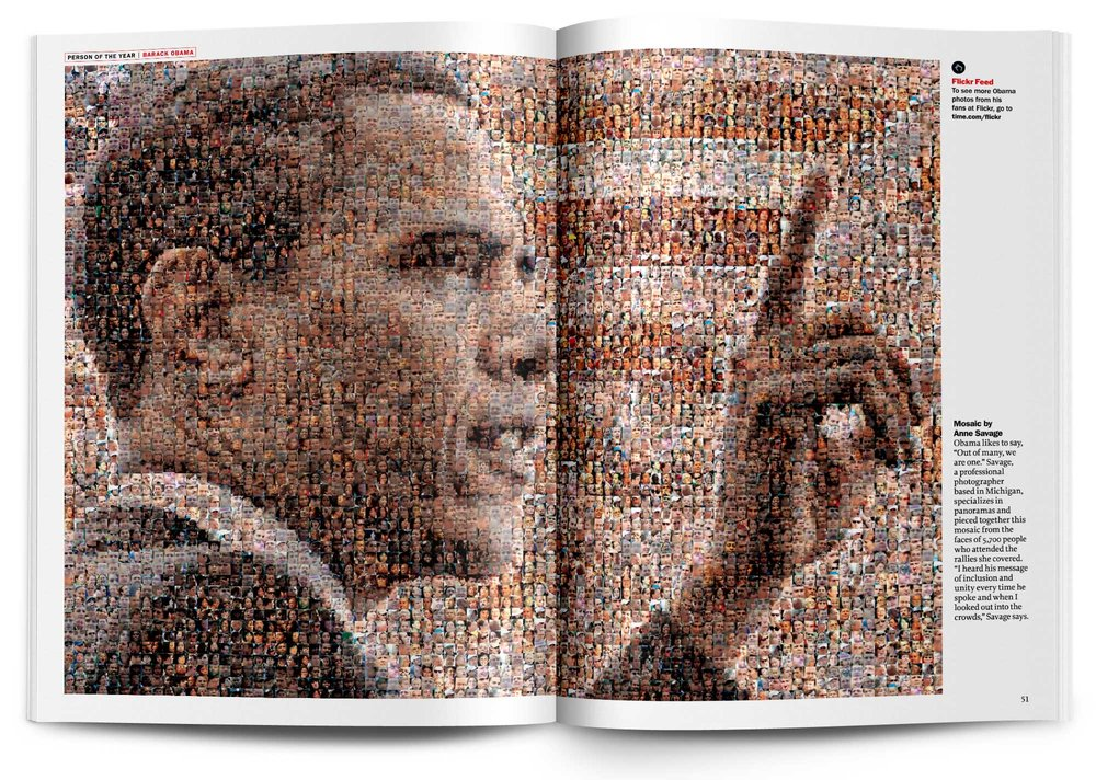 Art directed and designed the 2008 TIME Person of the Year cover package on Barack Obama