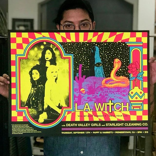 Just finished these #blacklight posters for @la_witch show tonight at @pappyandharriets Who want to go to the desert tonight??? Design by @andrew_mcgranahan #screenprinted #neon #flourescent