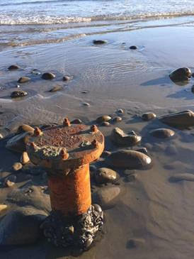 Oil Infrastructure on Summerland Beach. Photo by Nora McNeely Hurley