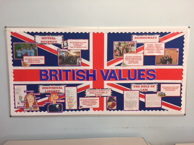Our British Values display in the school hall