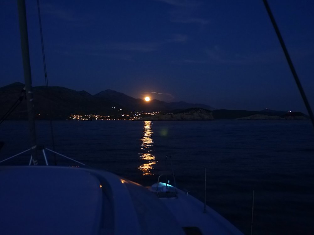 Guided by the moon , entering Cavtat, Croatia