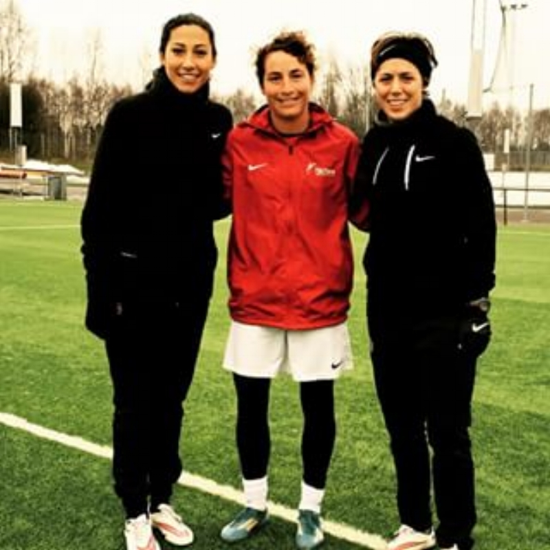 Christen Press, Jackie Bachteler, and Megan Klingenberg training before an international US Women's National Team friendly in Portugal