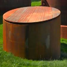 Twin Corten Steel Rain Barrels will hold a total of 800 gallons