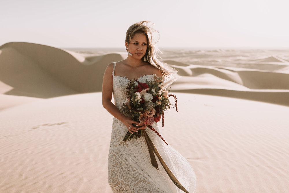 imperial sand dunes destination styled elopement bridal portrait with foraged fete florals