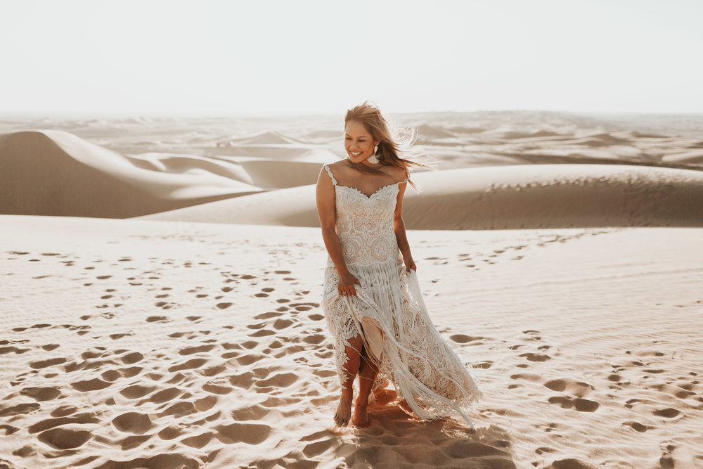 imperial sand dunes destination styled elopement bridal portrait lillian west gown