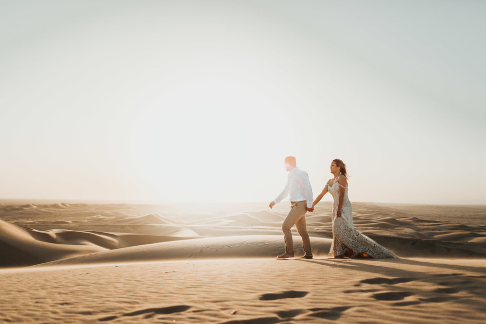 imperial sand dunes destination styled elopement golden hour