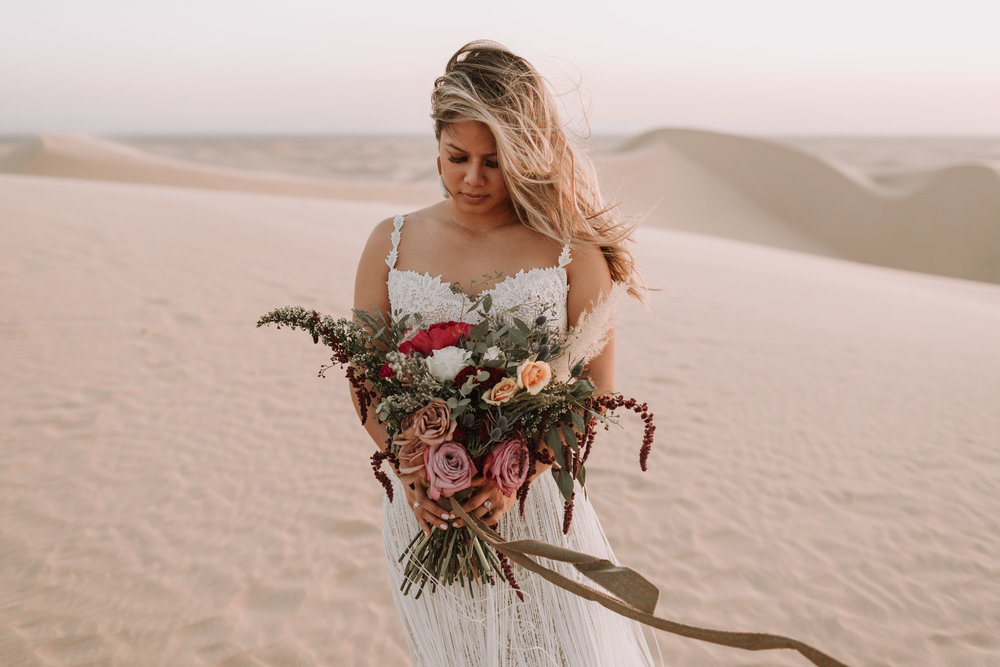 imperial sand dunes destination styled elopement wedding golden hour bridal with foraged fete floral bouquet collaboration