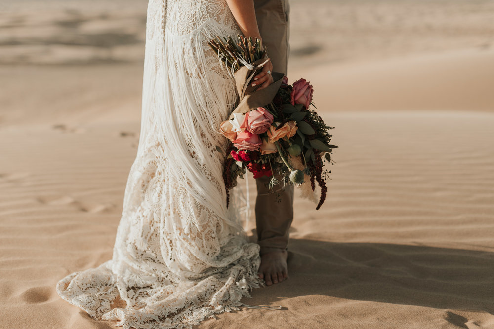 imperial sand dunes destination styled elopement wedding lillian west wedding gown fringe dress
