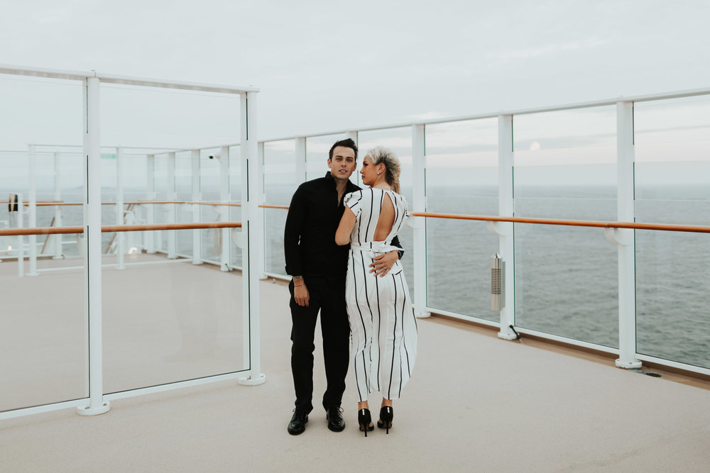 Mason and Rebecca Baltic Sea Cruise engagement photos couple session baltic sea norwegian cruise lines travel destination photographer windy
