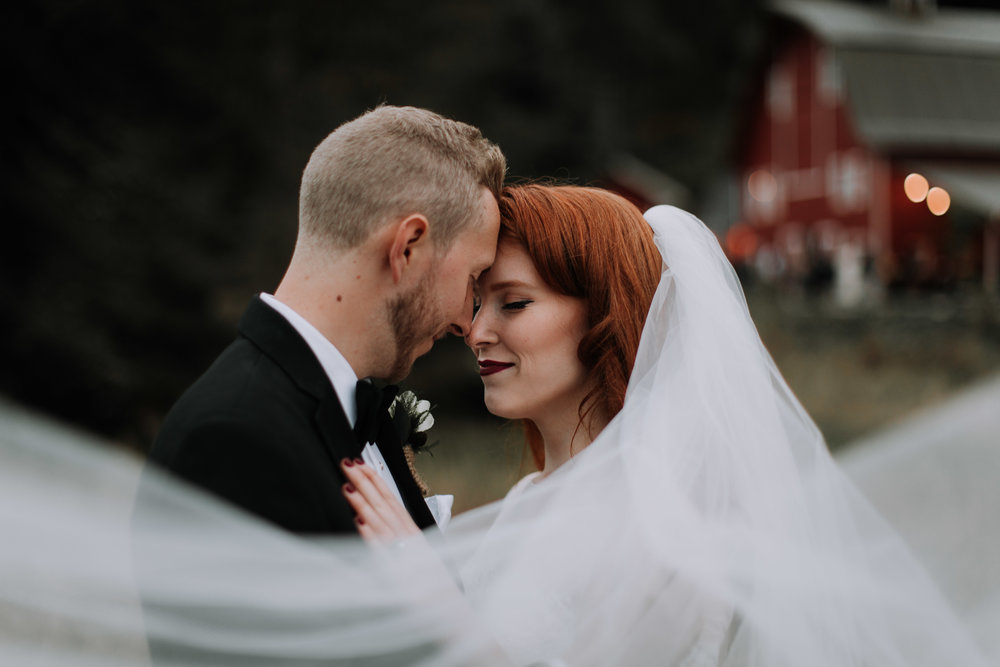 adam sophie red barn wedding arlington washington foggy day pnw