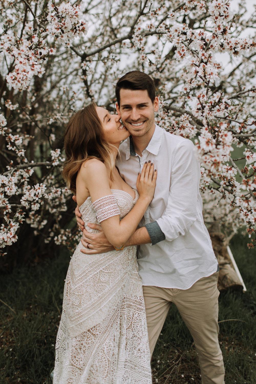 Michael and Morgan Barker Fresno Clovis Cherry Blossom Blossom Trails Shoot Rue De Seine Ash Gown