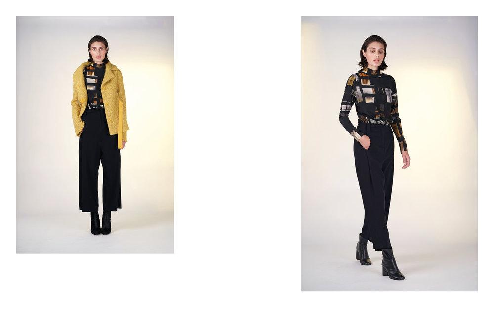 LEFT: jacket OTA 27117-09 | blouse ELI 27129-63 | pants ALAM 27100-08   RIGHT : blouse ELI 27129-6 63 | pants ALAM 27100-08