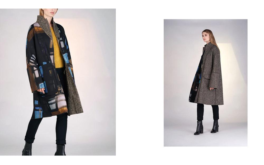 LEFT: reversible coat FRIDA 27130-67 | jumper TILLY 27505-09 | pants ALOE 27100-08  RIGHT: reversible coat FRIDA 27130-67 | blouse ELLA 27129-67 | pants ALOE 27100-08