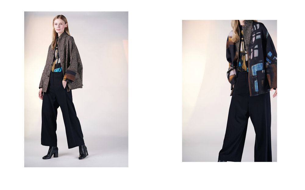 LEFT: reversible jacket FREI 27130-67 | blouse ELL 27129-67 | pants ALAM 27100-08  RIGHT: reversible jacket FREI 27130-67 | blouse ELL 27129-67 | pants ALAM 27100-08