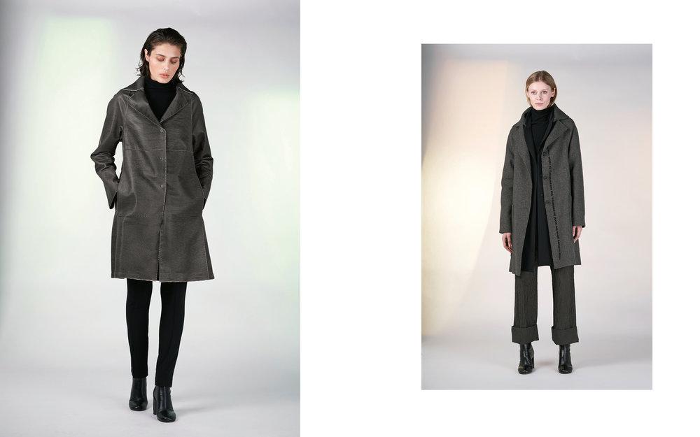 LEFT: coat GUSTO 27902-48 | jumper CITY 27501-08 | pants ALAO 27100-08  RIGHT: coat SIRON 1 27123-43 | jacket ALMA 27100-08 | jumper CITY 27501-08 | pants HANK 27109-48