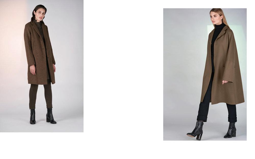 LEFT : coat LADY 27114-70 | jacket CLARO 27103-43 | pants CLOK 27103-43  RIGHT : coat LORD 27126-70 | jumper CITY 27501-08 | pants ALOE 27100-08