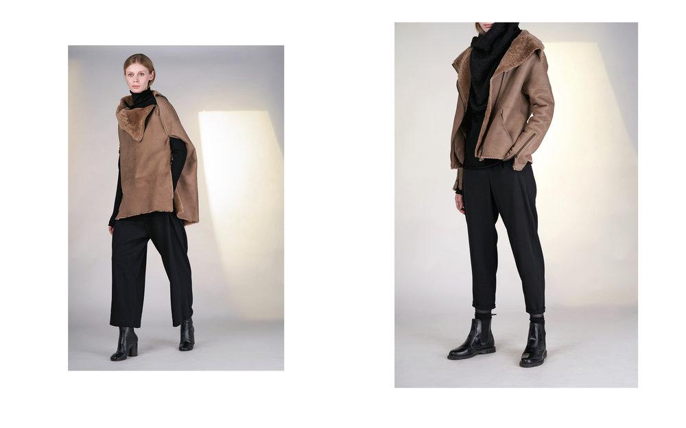 LEFT:  cape HUSKY 27905-70 | jumper CITY 27501-08 | pants ALAM 27100-08  RIGHT: jacket HUSAR 27905-70 | jumper CITY 27501-08 | pants ALFA 27100-08 | scarf TIAM 27505-08