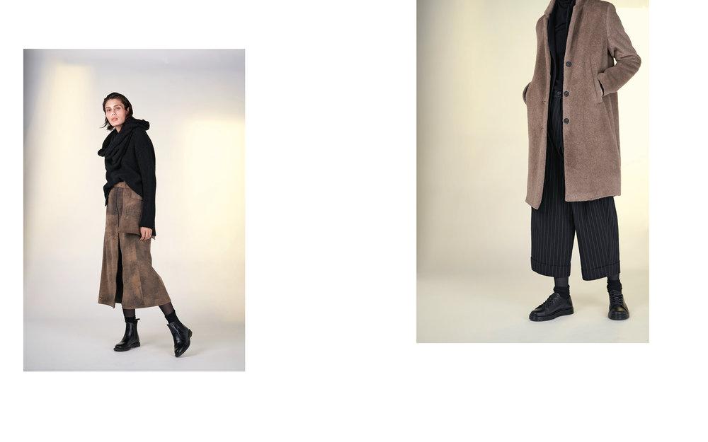 LEFT: jumper SHIRI 27512-08 | skirt FINA 27900-70 | belt FILIP 27900-70 | scarf TIAM 27505-08  RIGHT: coat GIN 27132-17 | jacket ALMA 27100-08 | pants UTZ 27133-48