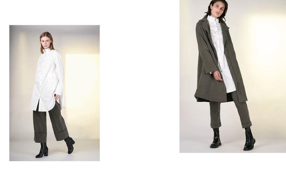 LEFT: blouse TELLY 1 27150-01 | pants DEIK 27104-03  RIGHT: coat DENIS 27104-03 | blouse TELLY 1 27150-01 | pants DENZ 27104-03