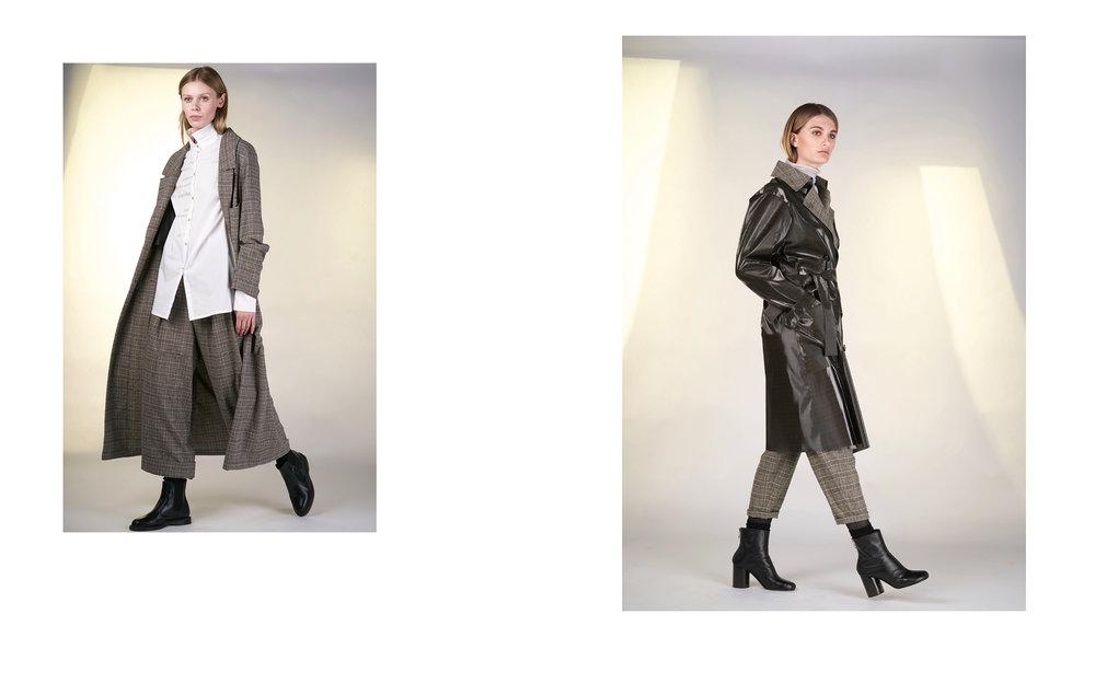 LEFT: coat BAC 27101-43 | blouse TEA 1 27150-01 | pants BASTA 27101-43  RIGHT: coat STEEL 27122-07 | jumper CITY 27501-40 | pants BACA 27101-43