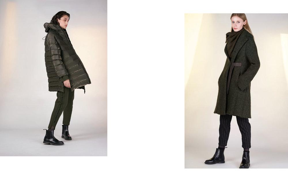 LEFT: jacket GOSA 27121-03 | Jumper KANT 27135-03 | pants KAT 27135-03  RIGHT: coat OTIS 27117-03 | pants GENA 27108-08 | scarf TIAM 27505-03