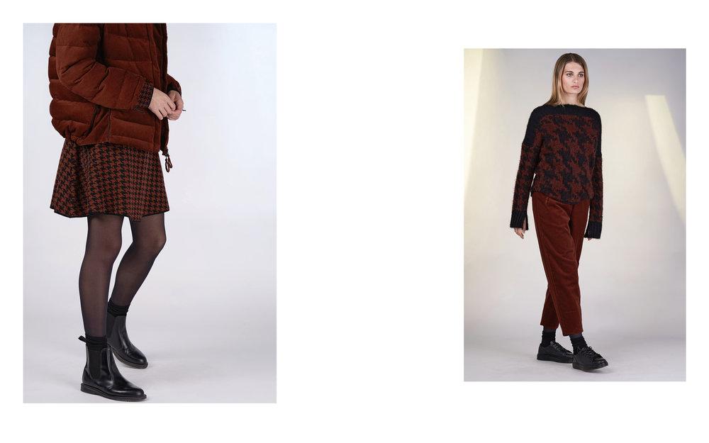 LEFT: jacket FENY 27107-05 | dress CELA 27500-05  RIGHT: jumper TINO 27506-05 | pants FER 27107-05