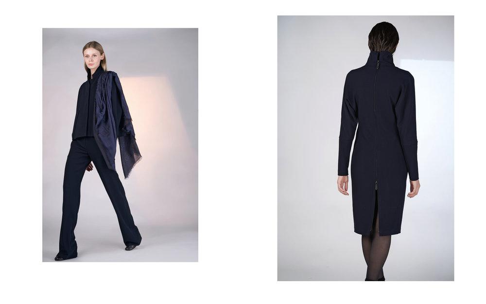 LEFT: jacket ALIA 27100-06 | pants ALI 27100-06 | scarf NIC 27407-06  RIGHT: dress ALICE 27100-06