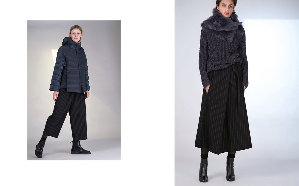 LEFT: jacket GOGO 27121-06 | pants UTZ 27133-48  RIGHT: jumper DOVER 27502-66 | skirt ULLA 27133-48 | scarf NANDO 27904-66