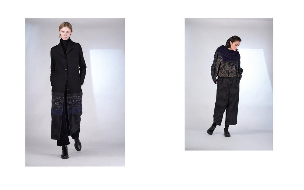 LEFT: coat TOS 27134-08 | jumper CITY 27501-08 | pants FERRY 27107-06  RIGHT: jacket AMOS 27110-06 | pants UTZ 27133-48 | scarf TIAM 27505-66