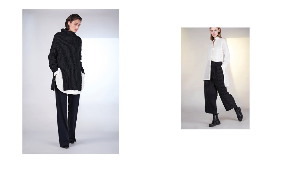 LEFT: jumper DUAL 27502-08 | blouse TELLY 27150-01 | pants ALI 27100-06  RIGHT : blouse SURA 27151-11 | pants UTZ 27133-48