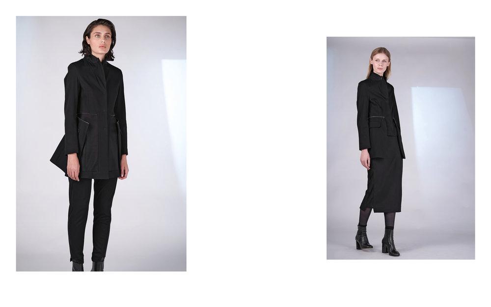 LEFT: jacket PINTA 27118-08 | pants PI 27118-08  RIGHT: jacket PINA 27118-08 | skirt PITI 27118-08