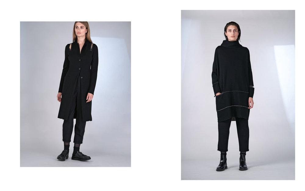 LEFT: cardigan BIENO 27500-08 | pants ALFA 27100-08  RIGHT: dress BITA 27500-64 08 | pants ALFA 27100-08
