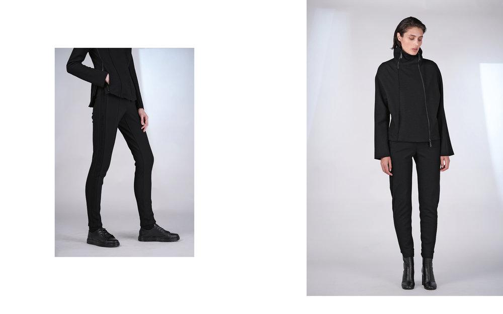 LEFT: jacket KAN 27135-08 | pants KALIF 27135-08  RIGHT: jacket KATY 27135-66 08 | pants KAT 27135-08